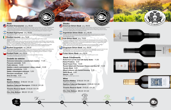 Steki na stolik wino SPG2014