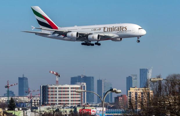 Emirates Airbus A380 w Warszawie