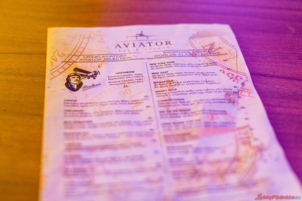 Menu Aviator bar&lounge - Airport Hotel Okęcie